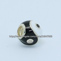 S925 Sterling Silver Black & White Ying Yang Charm Bead with Enamel & Clear Cz Fits European Pandora Jewelry Bracelets Necklaces & Pendant