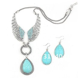 Wholesale 2014 Hot sale angle wing Turquoise Jewelry Set Vintage Tibet Silver Necklace Earring Set