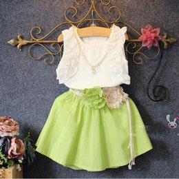 Wholesale Childrens Summer Fresh Style Sleeveless Outfit Cotton White T shirt and Flower Sash Skirt Pieces Set Girls Princess Fashion Set