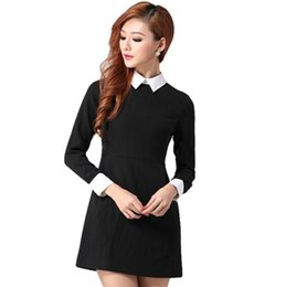 Women Dresses Long Sleeve Peter Pan Collar Office Ladies Black Dress With White Collar Womens Clothing Autumn Dress Ropa Mujer SJM