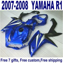 ABS full fairing kit for YAMAHA YZF R1 2007 2008 blue black bodykits YZF-R1 07 08 fairings set ER35