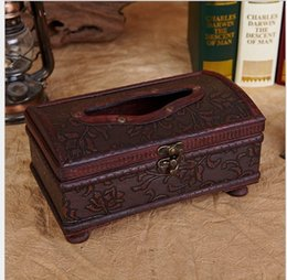 Wholesale new High quality European Vintage Wooden decorative Tissue Box holder antique Home Decorations Napkin Paper Cover