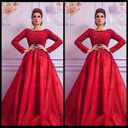 New Arrival Red Arabic Evening Dress Long Sleeve Floor Length Beaded Top Formal Party Gowns 2016