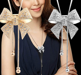 New Fashion Long Statement Bow Pendant Necklace Silver Butterfly Chain Necklace Jewelry