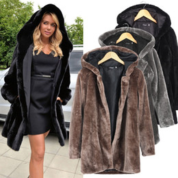 Wholesale- Winter Black Faux Fur Collar Long-sleeve Hooded Thicken Fur Mink Coat Women Plus Size Warm Overcoat 9021