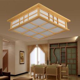 Wholesale Solid wood japanese style lamp room lights tatami lamp sheepskin lamp ceiling light study light