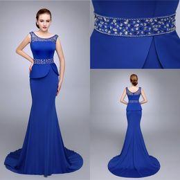 Hot Royal Blue Evening Dresses Custom made Illusion Jewel Beading Mermaid Spandex Fashion Party Prom Dress Custom made