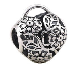 Sterling Silver Charms 925 Flower Basket Heart Charms for Bracelets DIY Love European Beads Accessories