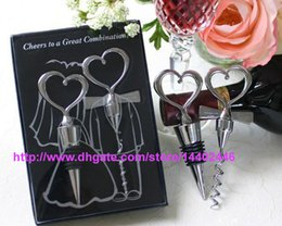 Wholesale 100sets Wine Bottle opener Heart Shaped Great Combination Corkscrew and Stopper Heart Shaped Sets Wedding Favors Gift