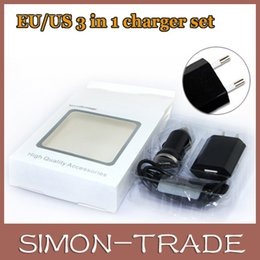 Wholesale 3 in sets Micro USB Data Cable Mini Car Charger AC EU US Wall Charger For Samsung For Iphone with retail package