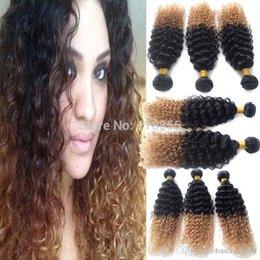 2017 27 bouclés ombre 7A Ombre Hair Extensions Indian Virgin Bracelets Cheveux 3 Bundles Ombre Color Two Tone 1b / 27 blonde kinky Curly Human Hair 3,4,5pcs / lot 27 bouclés ombre autorisation