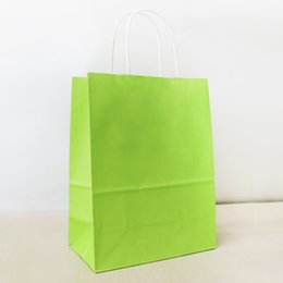 21*15*8cm Brilliant Green Paper Shopping Bag With Handle,130gsm Kraft Paper Bag, Can OEM Customized Printing Logo