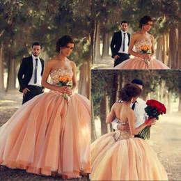 Gorgeous Fashion Ball Gown Strapless Floor length Blush Pink Wedding Dresses vestidos de noiva Beaded Crystal Princess Quinceanera Dress