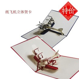 Wholesale 3d handmade pop up greeting cards plane design thank you cards airplane birthday cards suit for friend kids