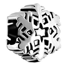 Christmas Simple style black enamel Rhodium plating Snowflake Element Crystal Charm Bead Fit Pandora Bracelet