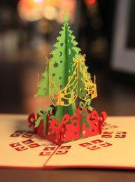Wholesale Christmas Pop Up Greeting Cards D Hollow Kirigami X mas Tree Design Postcards Festival Party Celebration Favors
