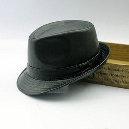 Wholesale 2016 Mens Fedora Hat Black Faux Leather Jazz Hat Fashion Autumn Winter Hats Australian Leather Cowboy Hats