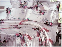 Wholesale Satin Bedding Wholesale - Wholesale-8pcs Silk satin comforter bedding sets California king quilt duvet cover fitted sheets bed in a bag queen size bedspreads linen