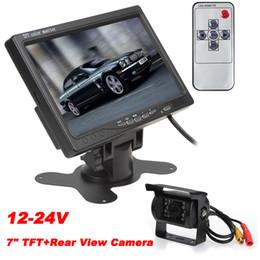 Acheter en ligne Lcd moniteur d'affichage vidéo-12-24V 7 pouces TFT LCD couleur écran d'affichage 2 vidéo d'entrée voiture de vision arrière DVD VCR moniteur + IR caméra de recul de sauvegarde de voiture pour Bus Van Long Truck