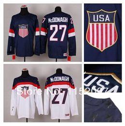 Wholesale 2015 Sochi Women USA Team Ryan McDonagh Hockey Jersey Girl Blue White American Winter Olympic Hot Sale Embroider Lady