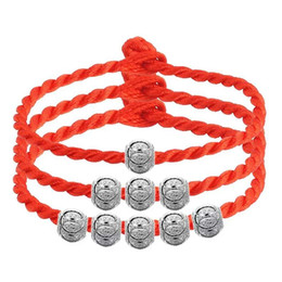 925 sterling silver jewelry Loose Beads spacer beads bracelet red rope chain chinese blessing luky jewelry