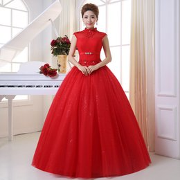 Free Shipping Ball Gown Floor-length Lace Up High Neck Cheap Red Modest Mermaid Wedding Dresses with Lace Crystal Detailing under 100 HS537