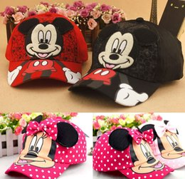 Wholesale 2015 D Bowknot Mickey Minnie Kids Hats Children Boy Girls Birthday Gift Summer Sunhat Childs Outdoor Peaked Cap Colors T K4190