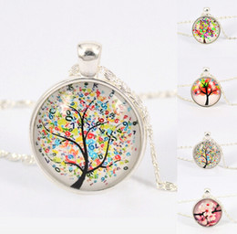 Wholesale women necklace tree Pendant necklace life tree picture Glass Cabochons silver color chain Necklace fashion jewelry Vintage Jewelry ty