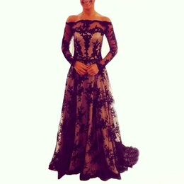 Bateau Evening Dresses 2016 Long Sleeve Black Lace A Line Floor Length Prom Gowns Custom Made
