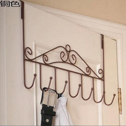 Wholesale Hot Color Iron Trace Door Hook Bathroom linen Coat Hooks Metal Creative Clothes Back Wire Metal Storage Hook
