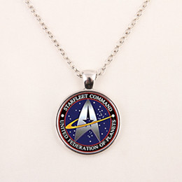 Wholesale WholesaleStar Trek Necklace Star Trek Pendant Science Medical or Operations pendent Glass Dome Pendant glass gemstone necklace