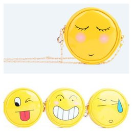 Cute Emoji Smiliey Face Cross Body Bags Mobile Headsite Cartoon Coin Purse 11cm PU glossy yellow circular portable bag with gold chains