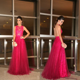 Fuchsia Sheer Lace Evening Dresses 2015 Jewel A line Covered Buttons Sweep Train Tulle Backless Party Evening Gown Custom made A line Sweep