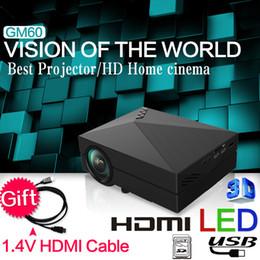 2015 Date de mise à niveau GM50 GM60 CADEAU Câble HDMI mini projecteur pour les jeux vidéo TV Home Cinéma Film support HDMI VGA AV SD GM60 à partir de nouveaux jeux vidéo fournisseurs