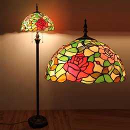 Wholesale Tiffany Floor Lamp European Style Stained Glass Antique Dragonfly Rose Floor Light Coffee Bar Living Room Floor Lamp