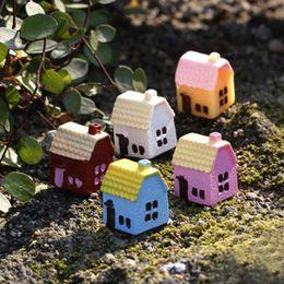 Wholesale 12Pcs Mini Resin House Fairy Garden Miniature Craft DIY Moss Micro Cottage Landscape Decoration Bonsai Ornament Resin Crafts