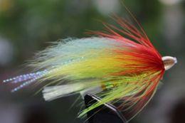 Tigofly 24 pcs lot Yellow&Green Feather Cone Head Tube Fly Streamer Fly Salmon Trout Steelhead Fly Fishing Flies Lures