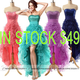 Wholesale Cheap Coral Prom Dresses Sparkly Purple Navy Peacock Formal Evening Gowns REAL IMAGE Occasion Dress A Line Sweetheart Party Gowns