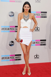 Wholesale Kendall Jenner White Mini Party Dress American Music Awards Sexy Backless Beaded Celebrity Evening Dress