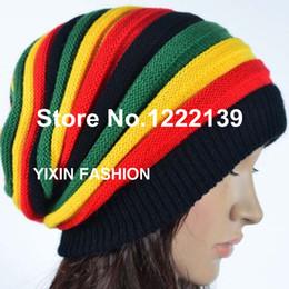 Wholesale-Fashion Jamaica Rasta Reggae Beanie Cap Multi-colored Stripe Hip Hop Baggy Slouchy Beanies Skullies Hat Gorro