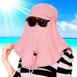 Wholesale face covering Sun Hat women summer outdoor men baseball ride anti UV Fishing hat head cap Removable sun mask two use ty15028