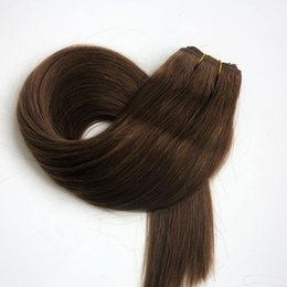 100% Human hair wefts Brazilian hair weaves 100g 22inch #6 Medium Brown Straight hair extensions tangle free Indian hair products