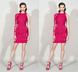Modest 2016 Zuhair Murad Fuchsia Lace One Long Sleeve Sheath Cocktail Dresses Sexy Short Party Dress Plus Size Custom Made China EN12152