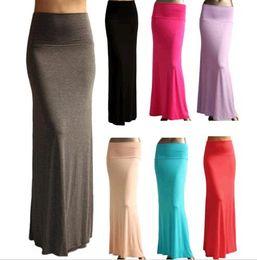 50pcs Free DHL Shipping Cost Sexy Maxi Dress Full Length High waist Fold over Long Skirt S M L XL