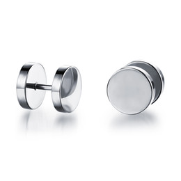 Dumbbell Shaped Sturdy Punk Stainless Steel Screw Ear Plugs Stainless Steel Plain Simple Ear Jackets Ear Rings