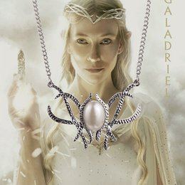 Wholesale lord of the rings Movie Hobbit Jewelry Galadriel Elven Queen pearl Pendant Necklace handmade silve plated Statement Necklaces High Quality
