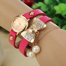 Promotion nouvelles robes de filles de noël 9 couleurs Bracelet Quartz robe bracelets cadeau de Noël New Mode strass bowknot perle Montre Femme en cuir pour dame fille