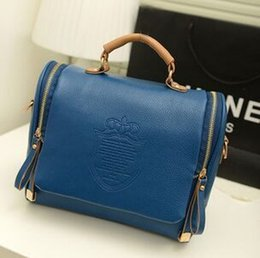 Wholesale 2015 new Korean version of the British Crown double pull fashion portable shoulder bag Messenger bag retro handbags
