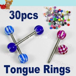 Wholesale New Mixed Crafted Acrylic Tongue Nipple Rings Ball Piercing Barbell Body Jewelry Fashion