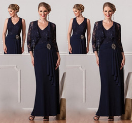 2019 New Elegant Mother's Dresses V Neck Lace A Line Long Chiffon Formal Navy Blue Hot Beach Mother Of the Bride Evening Gowns With Jacket